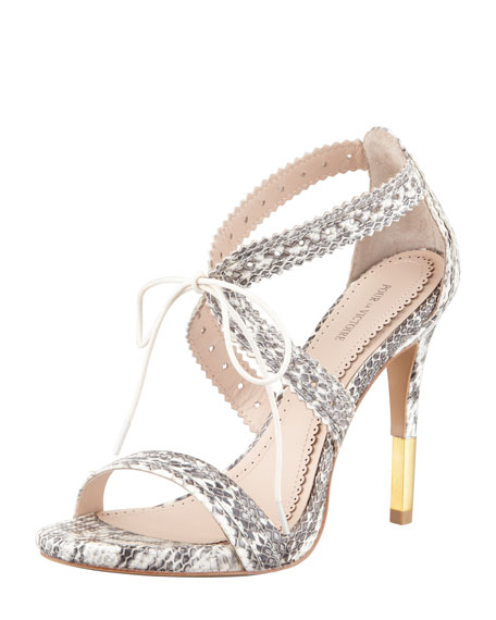 Shanna Snakeskin Lace-Front Sandal