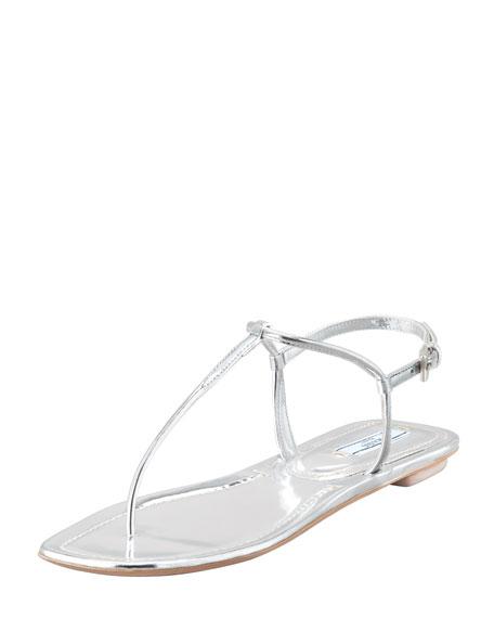 Flat Metallic Leather Thong Sandal, Silver