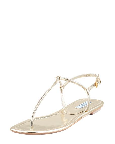 Flat Metallic Leather Thong Sandal, Gold