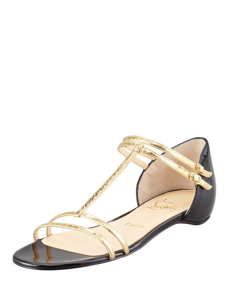 Arnold Flat Metallic Snakeskin Sandal
