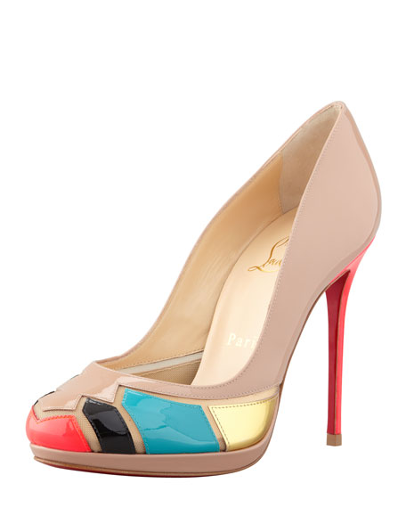 Astrogirl Patent Patchwork Red Sole Pump
