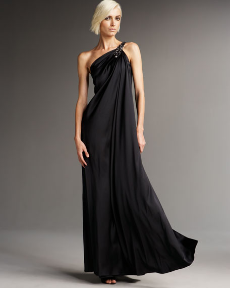 One-Shoulder Draped Charmeuse Gown