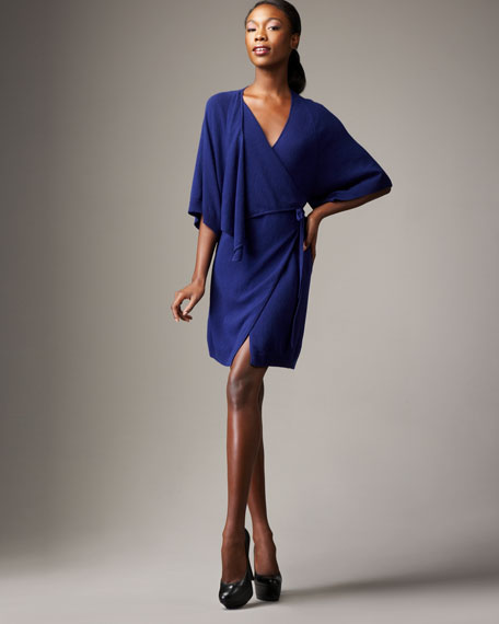 Draped Knit Wrap Dress