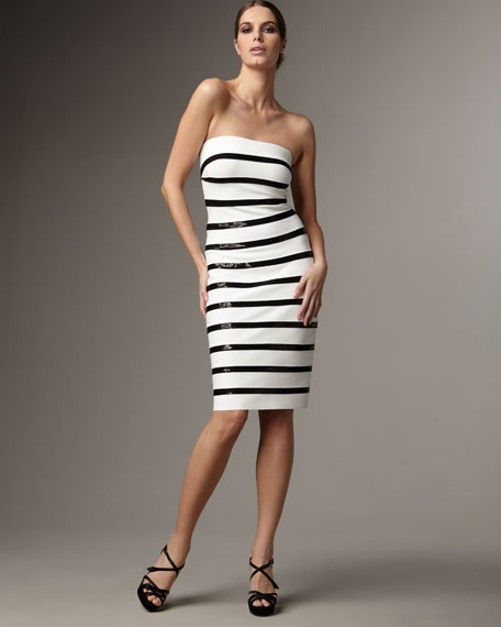 Strapless Sequin-Stripe Dress