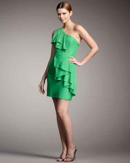 One-Shoulder Cascade Ruffle Dress