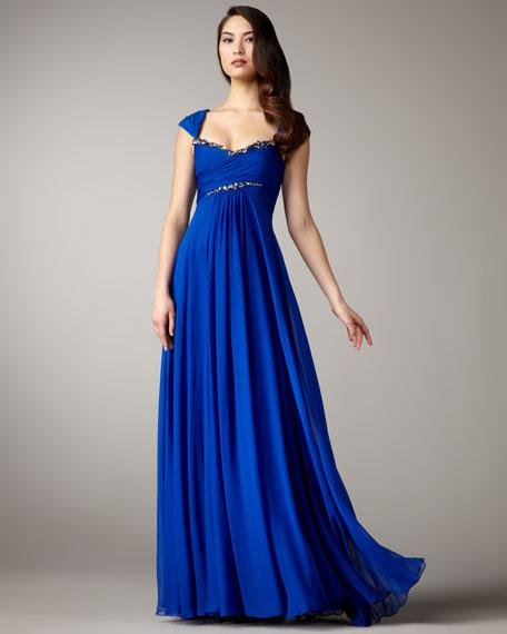 Empire-Waist Chiffon Gown