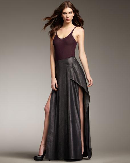 Slit Denim Maxi Skirt
