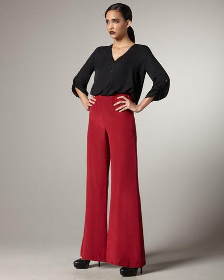 Gardner Silk Wide-Leg Pants