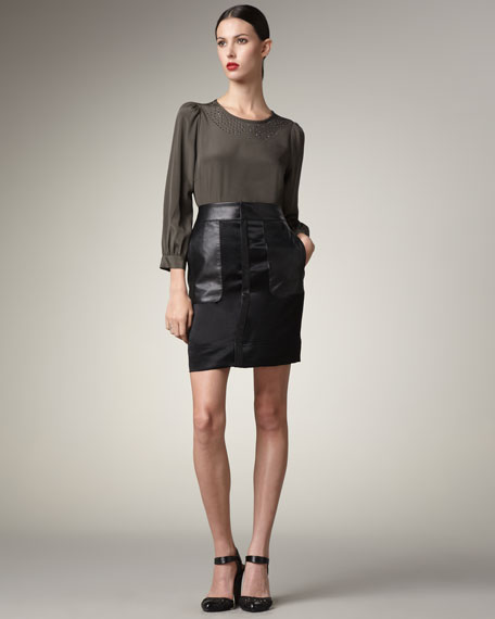 Leather-Trim Satin Skirt