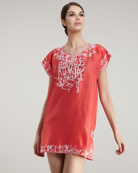 Embroidered Satin Tunic, Orange