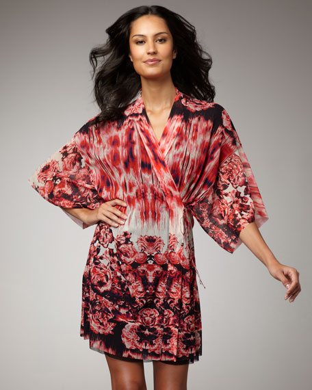 Floral-Print Kimono Coverup