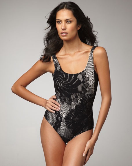 Lace-Overlay One-Piece