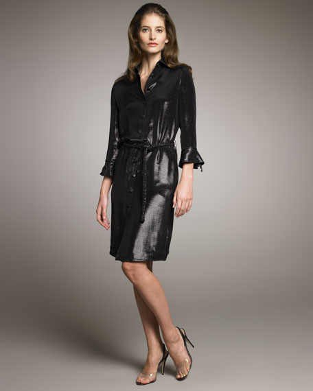 Metallic Shirtdress