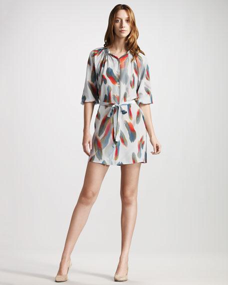 Feather-Print Silk Dress