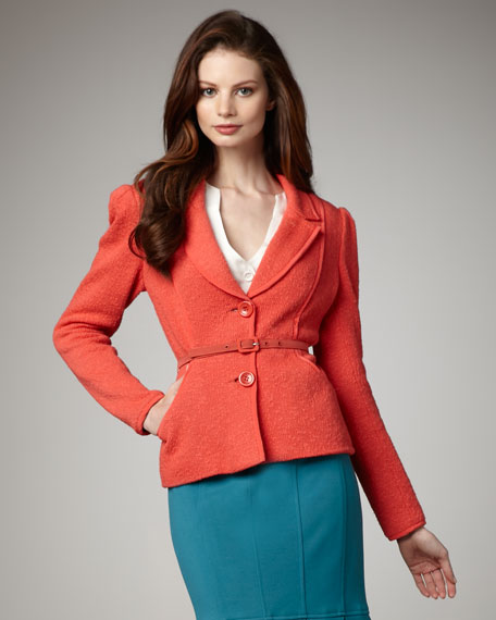 My Song Belted Jacket, Coral
