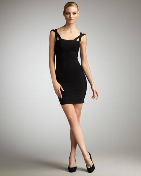 Crisscross-Strap Bandage Dress, Black