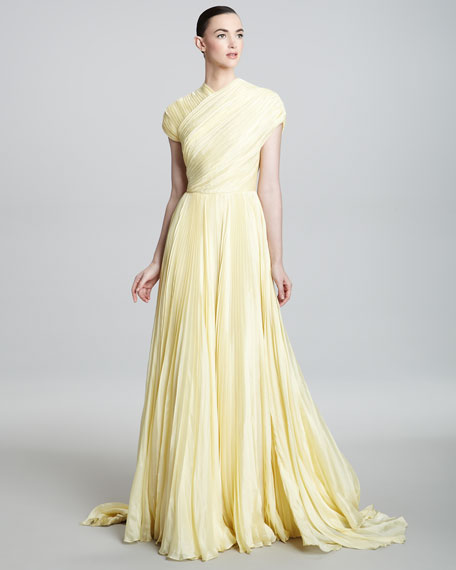 Cap-Sleeve High-Neck Gown