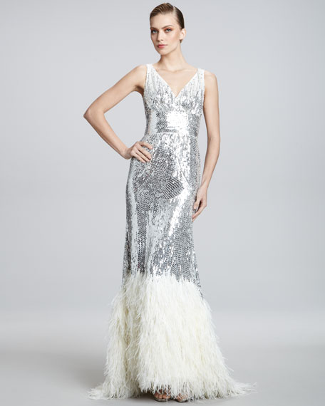 Beaded Feather-Hem Gown