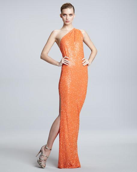 One-Shoulder Sequin Gown