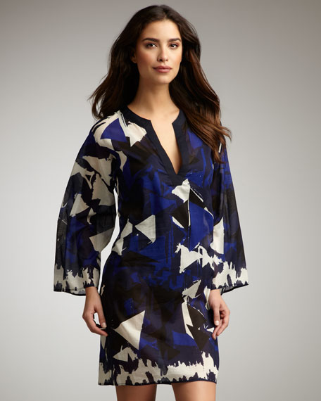 Triangle-Print Coverup Tunic