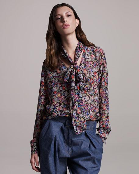 Floral-Print Blouse