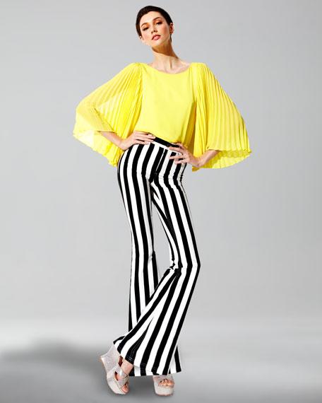 Striped High-Waist Pants