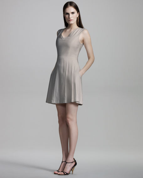 Linen-Blend Sleeveless Dress