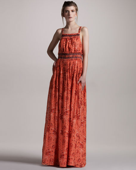 Beaded Cotton-Silk Maxi Dress