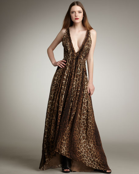 Pleated Leopard-Print Gown