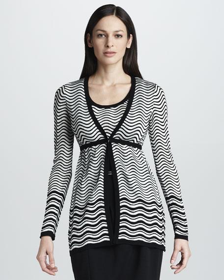 Wave-Stripe Empire Cardigan