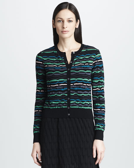 Wavy-Knit Cardigan