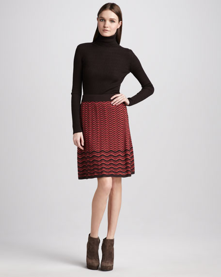 Wave-Stripe Pointelle Skirt
