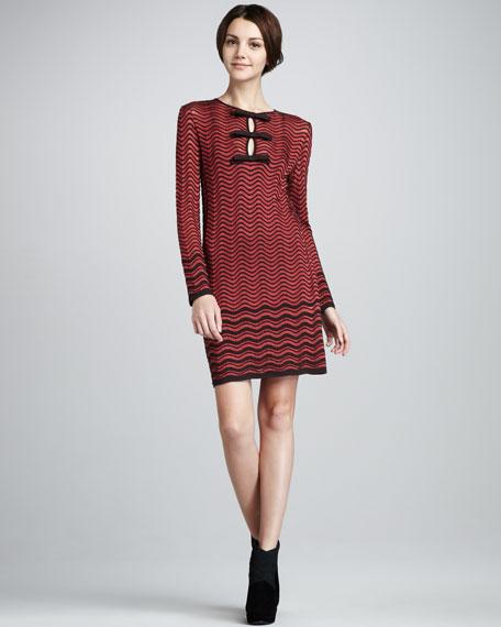 Wave-Knit Bow Dress