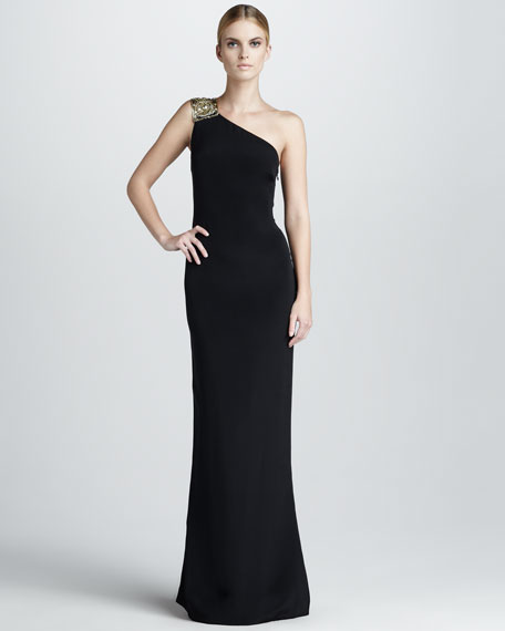 Embroidered One-Shoulder Gown