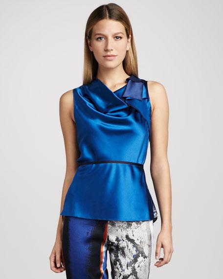 Ezra Asymmetric Print-Back Silk Blouse