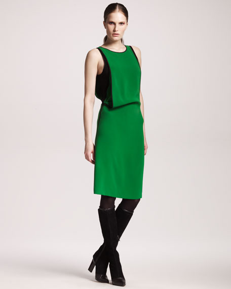 Compact Silk Draped Dress