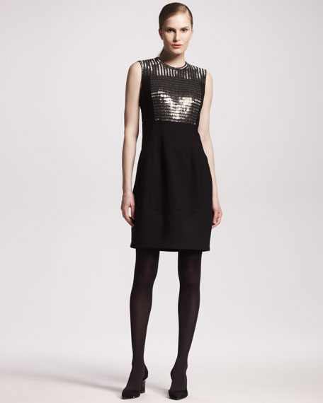 Chain Mail-Front Tropical Wool Dress