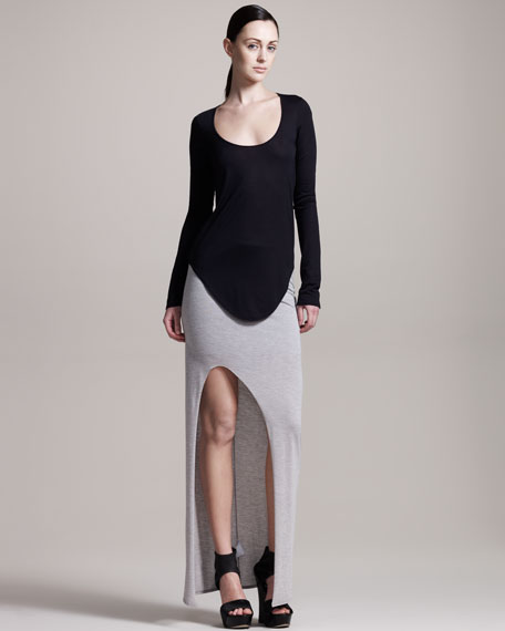 Kinetic Slit-Front Jersey Skirt