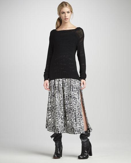 Delphine Gator-Print Midi Skirt