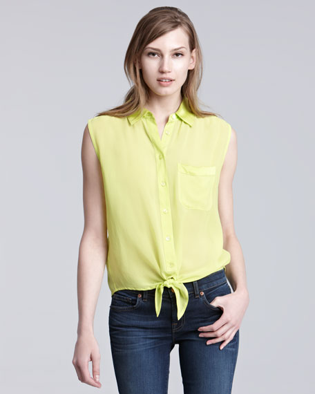 Tie Front Sleeveless Blouse