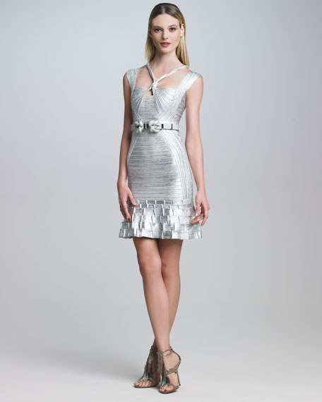 Ruffle-Hem Metallic Bandage Dress