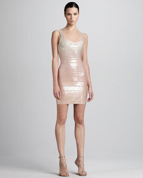 Sequined Scoop-Neck Bandage Dress