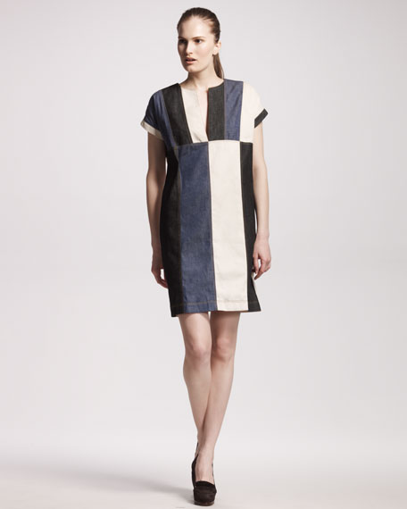 Colorblock Denim Dress