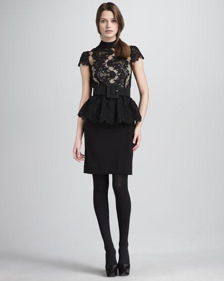 Robyn Lace-Top Peplum Dress