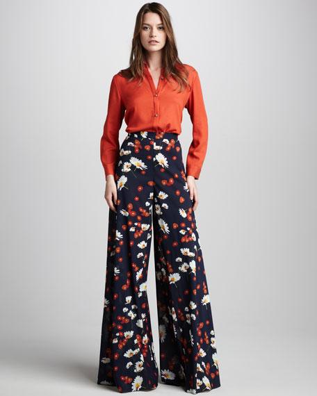 Daisy-Print Wide-Leg Pants