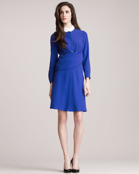 Drape-Front Button-Down Dress