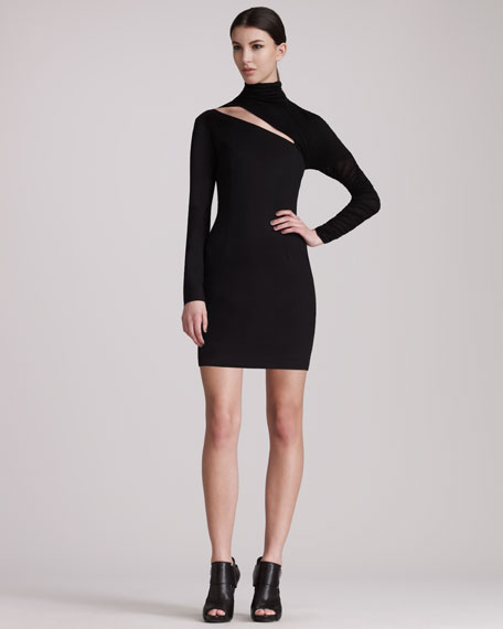 Long-Sleeve Cutout Dress