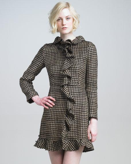 Ruffled Houndstooth Coat