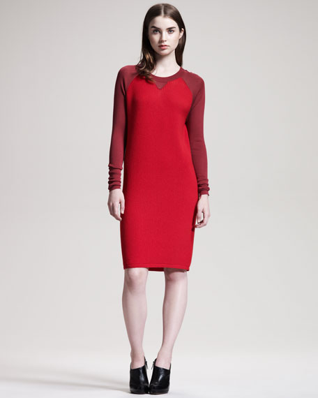 Thermal-Knit Raglan-Sleeve Dress