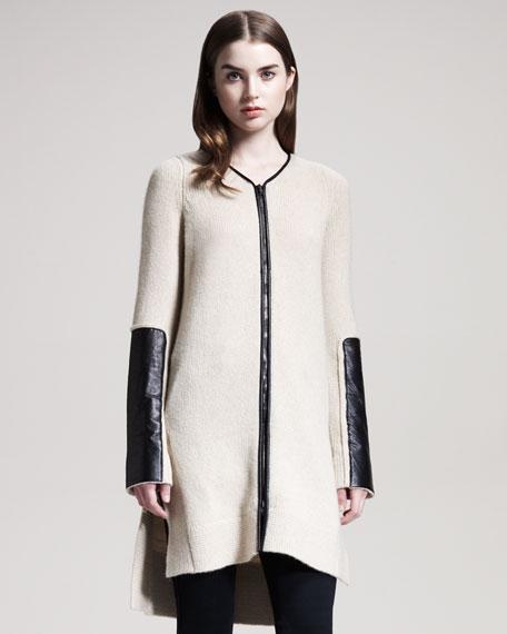 Long Leather-Trim Cardigan